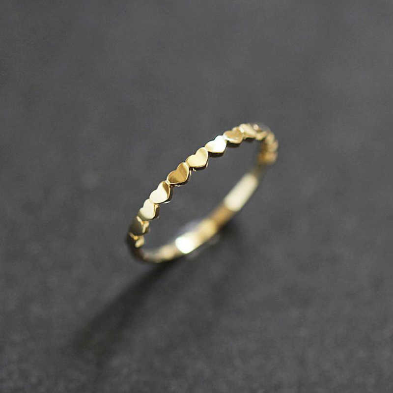 Tisonliz Dainty Stackable Thin Rings Minimalist Gold Stacking Wedding Engagement Rings Hearts Ring Fashion Jewelry bague femme