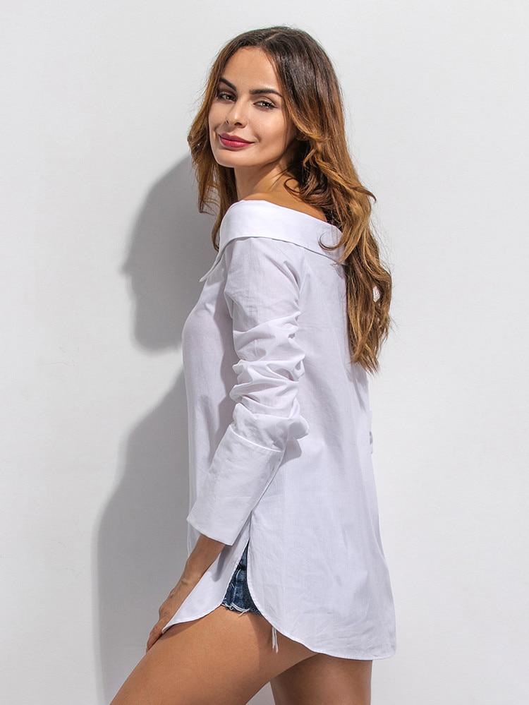 2017 de La Moda de Primavera Camisa de Algodón Blanco Mujeres Camisetas Otoño Sl