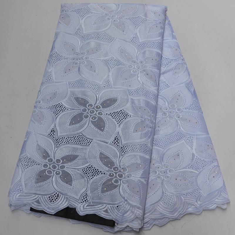 Free shipping 5yards pc embroidered pure white African cotton lace elegant Swiss voile lace fabric for