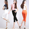 Women Summer Plus Size S-4XL Casual Pants OL Skinny Stretch Leggings Trousers Candy Color High Elastic Capris Pants