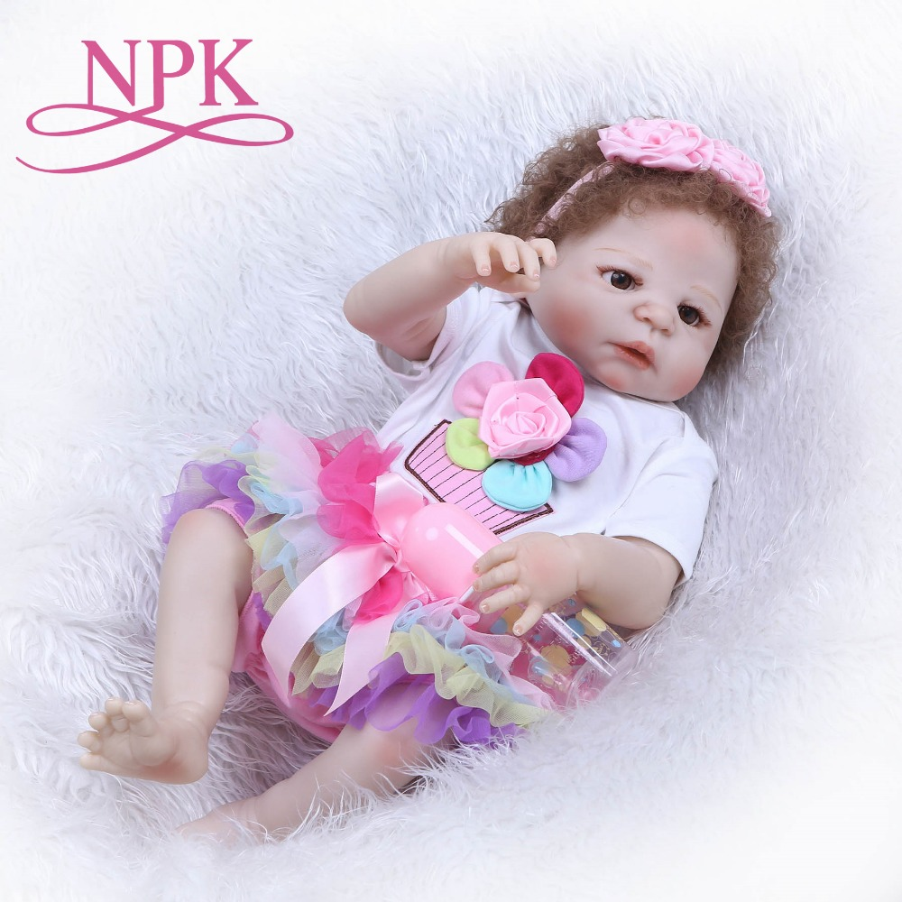 NPK 55cm Reborn Bebe Dolls Full Body Silicone Reborn Baby Girl Doll New Hair Toys Bebe Bonecas Baby Newborn Doll Children Gift 22 reborn dolls toys half soft silicone body reborn baby cotton body with pacifier bear doll newborn baby bonecas child gift
