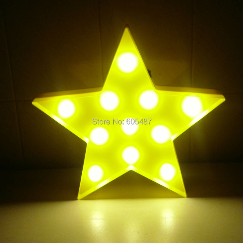 12.5 Plastic Led yellow star Letter light AA battery LED Marquee Sign LIGHT UP letter signs Indoor wall Deration customize