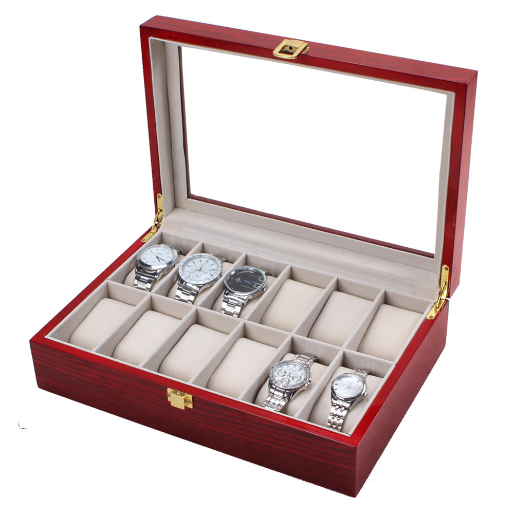 Susenstone 2018 Watch Box Brand Wood Case For Bracelet Po Bangle Jewelry Portable Travel 12 Slot Display Present Gift Hot Sale russia s old elm purple yu pure real wood double box box jade jewelry bracelet receive a cassette of the lock