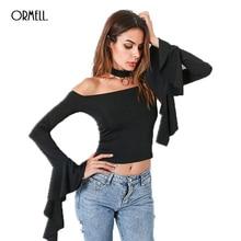 ORMELL Fashion Women Off The Shoulder T-shirts Female Sexy Halter Slash Neck Long Flare Sleeve Tees Black Short Autumn Clothing