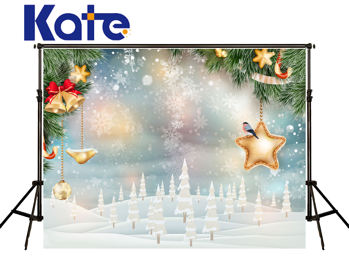 Kate Merry Christmas Backdrops Photography Snowflake Bell Gold Star Pine Tree Winter Christmas Photo Studio Background Hj02174