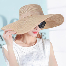 Women Large Brim With Ribbons Bow Summer Sun Hat