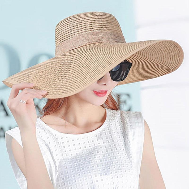 1d1a84be90b9b Venda quente Chapéus de Sol de Verão Para As Mulheres Aba Larga Com Fitas  arco Praia Cap Chapéu Senhoras Chapéu de Sol UV Proteger Chapeu Feminino em  ...