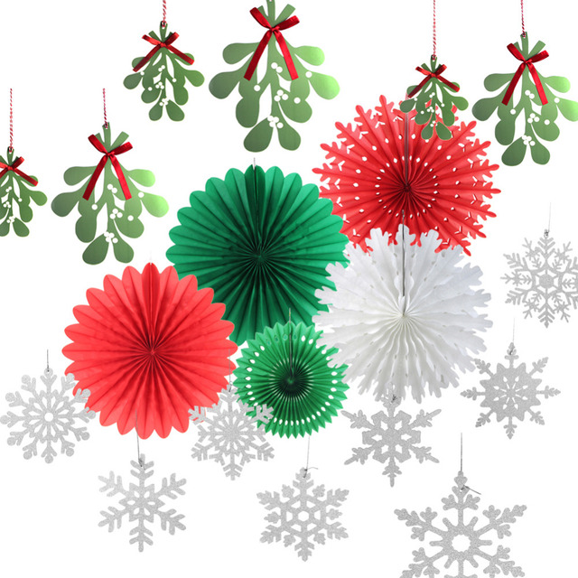 Christmas Paper Decoration Kit SILVER Snowflakes Mistletoe Garland Snowflake Cut Out Fans Xmas