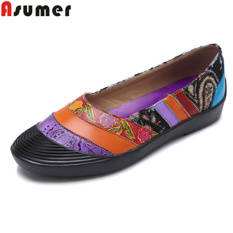 ASUMER 2020 flats shoes women mixed colors genuine leather shoes casual female shoes classic Vintage Style women flats big size