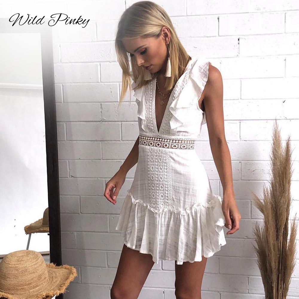 WildPinky 2019 Fashion Women Clothing Summer Lace Up Dress Female Hollow Out White Dress Boho Sexy Party Women Dress Vestidos in Dresses from Women 39 s Clothing