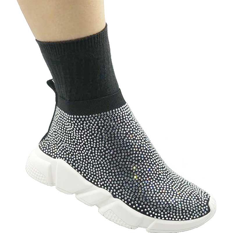 Elehot White Crystal Rhinestone Sneakers2