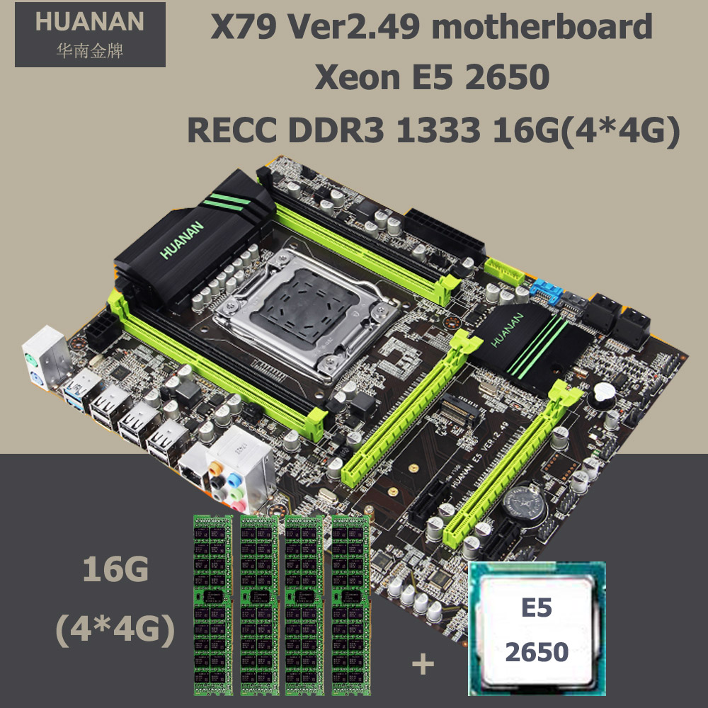 HUANAN V2.49 motherboard CPU RAM combos X79 LGA 2011 motherboard with CPU Xeon E5 2650 RAM (4*4G)16G DDR3 REG ECC all tested huanan v2 49 x79 motherboard with pci e nvme ssd m 2 port cpu xeon e5 2660 c2 ram 16g ddr3 recc support 4 16g memory all tested