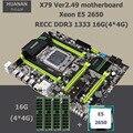 Placa base de escritorio con M.2 ranura SSD NVMe marca HUANAN ZHI X79 LGA2011 CPU Intel Xeon E5 2650 SR0KQ RAM (4*4G) 16G DDR3 REG ECC