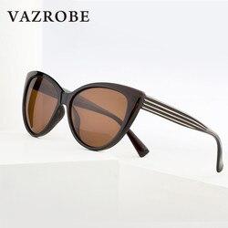 Vazrobe Cat Eye Polarized Sunglasses Women Vintage Cateye Sun Glasses for Ladies Black/brown Driving Shades Female Retro 2018