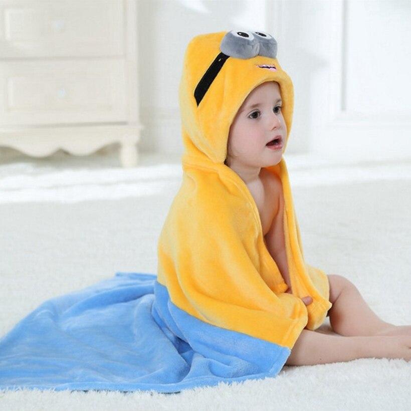 Фланелевое банное полотенце с капюшоном для маленьких мальчиков и девочек; банный халат с милым рисунком миньонов; Пижама; одежда для сна