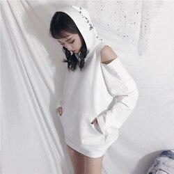 CheerSolo Autumn Hoodies Women Letter Print Star Sweatshirt Open Shoulder Long Sleeve Cut Out Top White Black Korean Streetwear 4