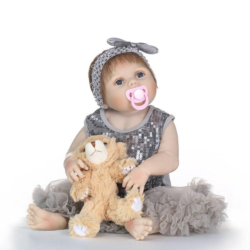 55cm Full Silicone Vinyl Reborn Girl Baby Doll Toys With Bear 22inch Newborn Princess Babies Girls