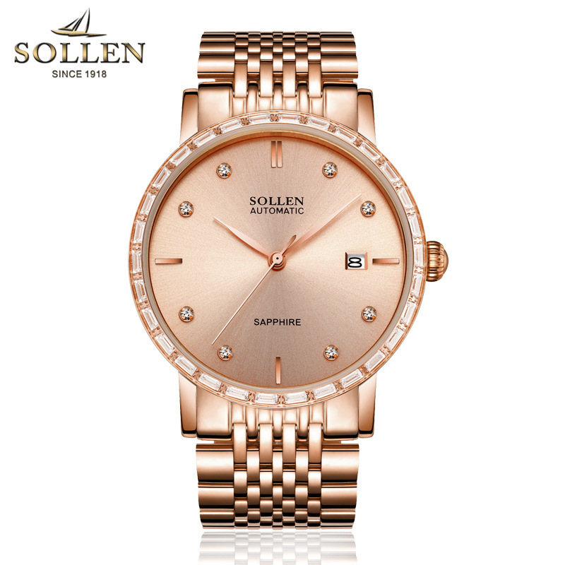 SOLLEN watches men luxury brand japan MIYOTA movement automatic mechanical watch sappire diamond rose gold конструктор конструктор забияка крокодил 1305717