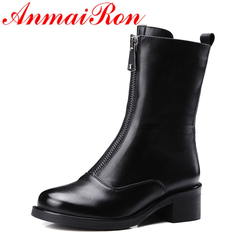 ANMAIRON Low Heels Classic Black Shoes Woman Zippers Size 34-39 Platform Shoes Round Toe Winter Boots Mid-calf Motorcycle Boots 2018 genuine leather zipper winter boots round toe platform motorcycle boots elegant increased mid calf boots for women l6f2