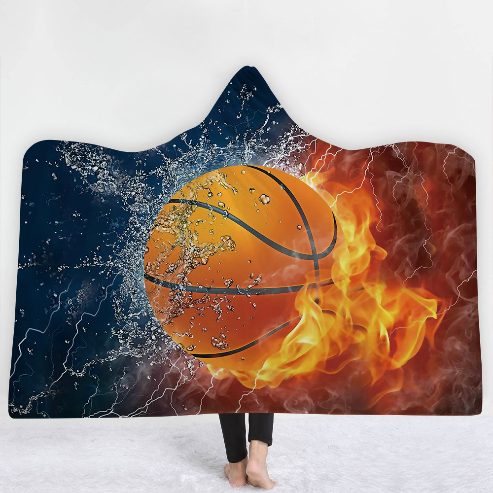 Dropshipping Ball Game Printed Pattern Adults Kids Blanket Soft Fluffy Winter Warm Thick Coral Fleece Fabric Blanket