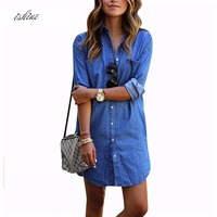 Cheap Women Denim Shirt Chemise 2017 Autumn Femme Long Style Jeans Blouse Shirt Blue Long Sleeve