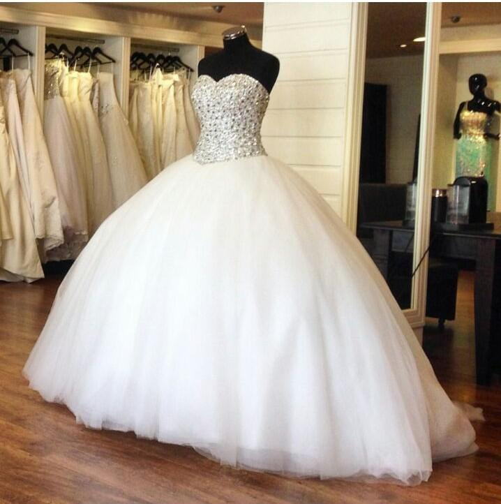 Crystal Bodice Wedding Gown: 2015 Luxury Crystal Ball Gowns Sparkly Rhinestone Beaded