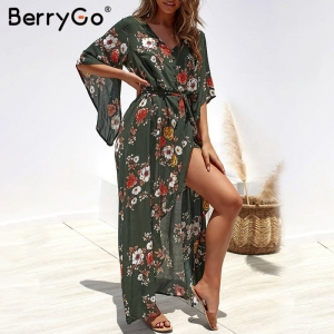 Image 1 - BerryGo Boho floral print women long dress Summer dresses asymmetrical sleeve sashes split chiffon dresses beach female vestidos