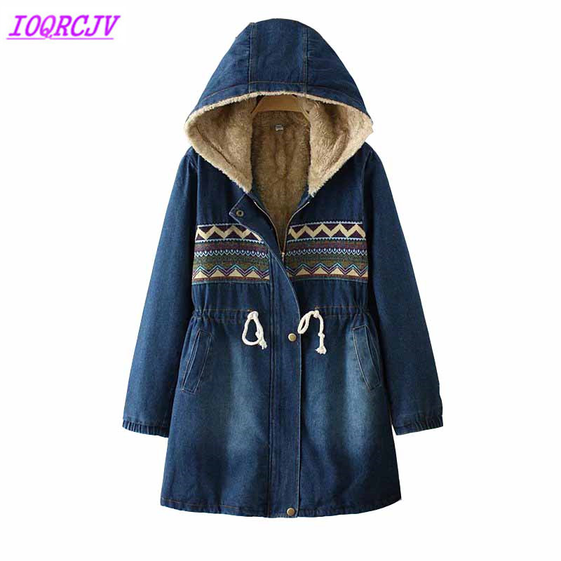 Winter jackets for women 2018 Flocking Denim coat Plus size lambswool Hooded tops Thick Warm female