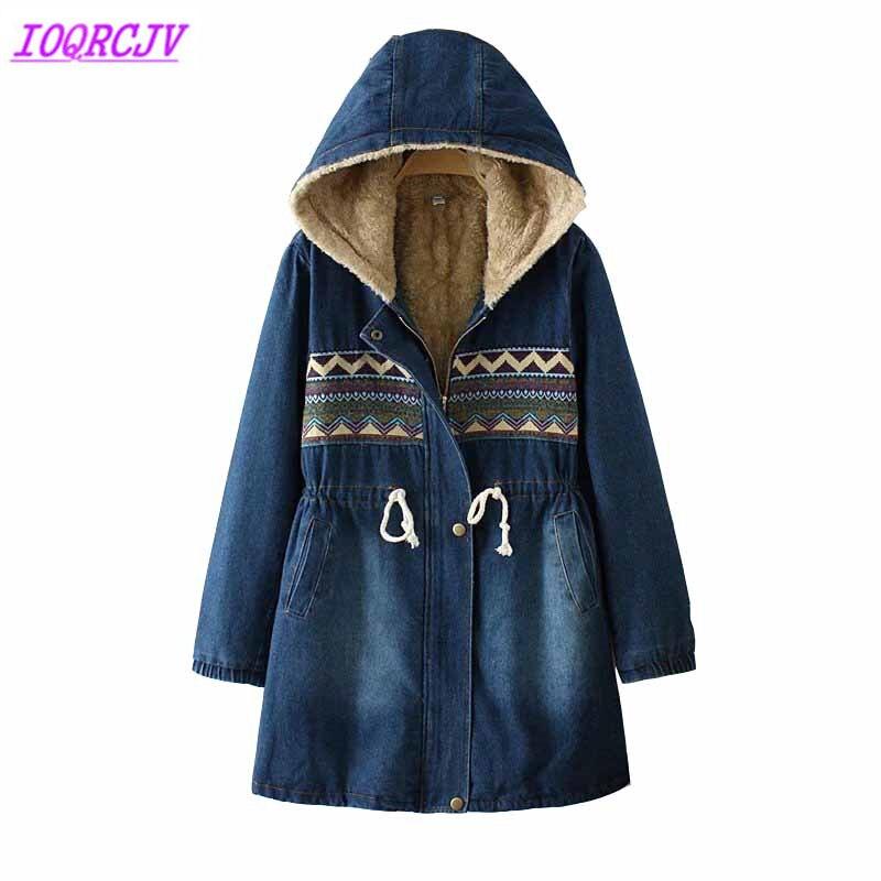 Winter jassen voor vrouwen 2018 Massaal Denim jas Plus size lamswol Hooded tops Dikke Warme vrouwelijke jeans jassen IOQRCJV H476-in Eenvoudige Jassen van Dames Kleding op  Groep 1