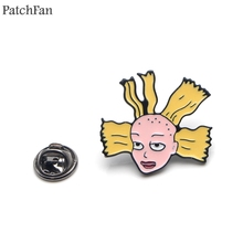 Patchfan Cartoon funny girl Cynthia Zinc tie cartoon Funny Pins backpack clothes brooches for men women hat badges medals A1840