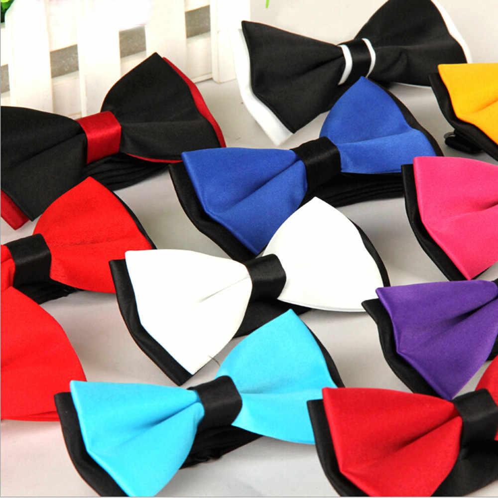 Homme uni noeud papillon Polyester doux et confortable noué mariage smoking noeud papillon cravate accessoire L50/0122