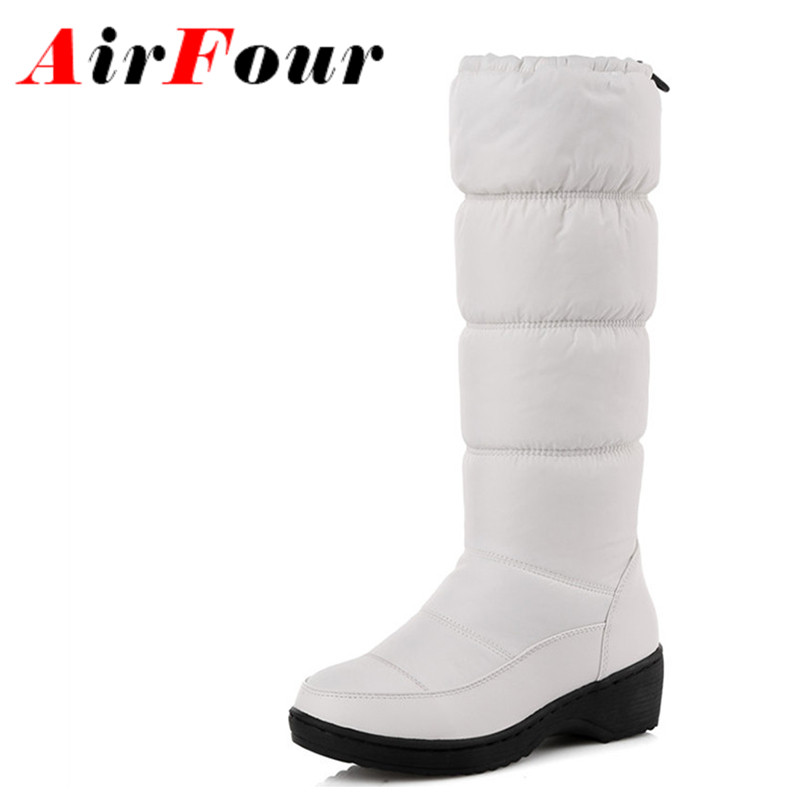 ФОТО Airfour Fashion New Women Mild-calf Boots Wedges Down Winter Round Toe Warm Boots Platform Elastic Band Shoes Women Large Size