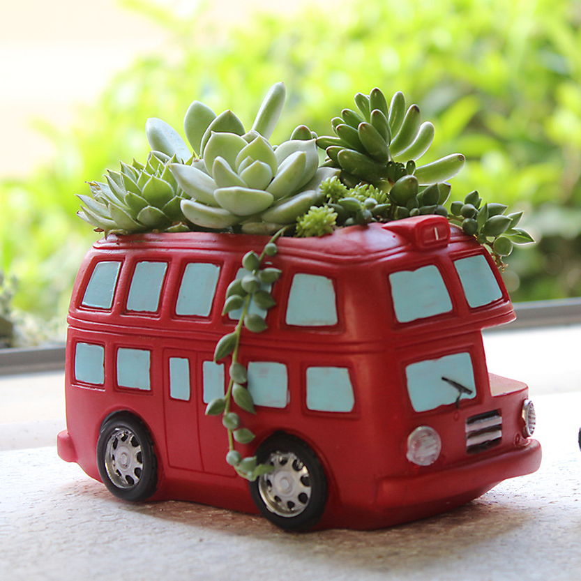 Vintage London Classic Red Double Decker Bus Plant Flower Pot Succulent Planter