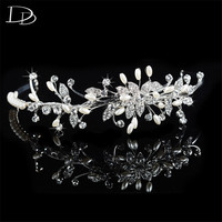 Leaves Design Tiara For Brides Simulated Pearl Austrian Crystal Hair Jewelry For Women 585 Gold Plated