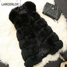 67d5aadfb5434 Faux Fur Vest Plus Size Dames Lange Jas Winter Vrouwen Zwart Vest vrouwen  Bont Jas Vrouwelijke