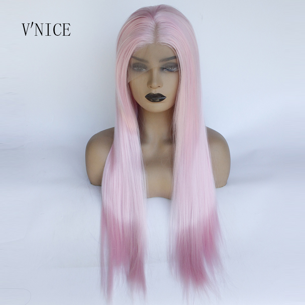 V NICE Natural Long Straight Pastel Pink Wig Heat Resistant Fiber Soft Hair Synthetic Lace Front