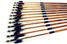 12PK Japan Traditional White And Black Feathers Self Nock Bamboo Arrows For YUMI Bow YMWBBT2