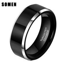 6MM Black Tungsten Carbide Ring Brushed Polished Flat Comfort Fit Wedding Engagement Band
