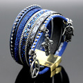 Charms Leather Magnet Buckle Crystal Rhinestone Imitation pearls Charm Bangle Women Boho Multilayer Wristband Jewelry