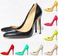 Звезда Стиль Классика Офис Обувь Новое Прибытие женская Мода Твердые Лакированной Кожи Острым Носом Мелкие Высокие Каблуки Обуви для женщины