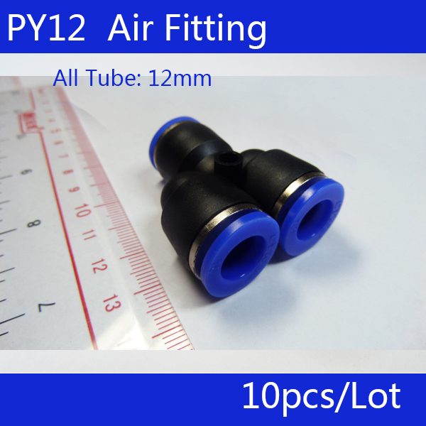 Free shipping HIGH QUALITY 10Pcs Air Pneumatic 12mm to 12mm Y Shaped Push in Connectors Quick Fittings PY12 10 pcs air pneumatic 3 8 pt to 10mm y shaped push in connectors quick fittings