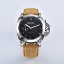Мужские наручные часы BOMAX, серебристый чехол из нержавеющей стали, 44 мм, с автоматическим механизмом, коричневый военный кожаный ремешок 415 7