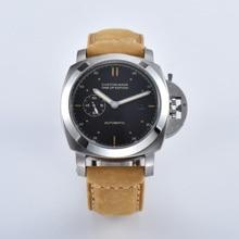 Montre argent inox BOMAX MARINA boîtier acier mouvement automatique 44MM montre homme horloge marron bracelet cuir militaire 415 7