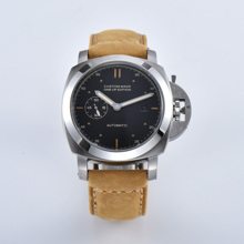 watch silver stainless BOMAX MARINA steel case automatic movement 44MM watch mens clock brown military leather strap 415 7