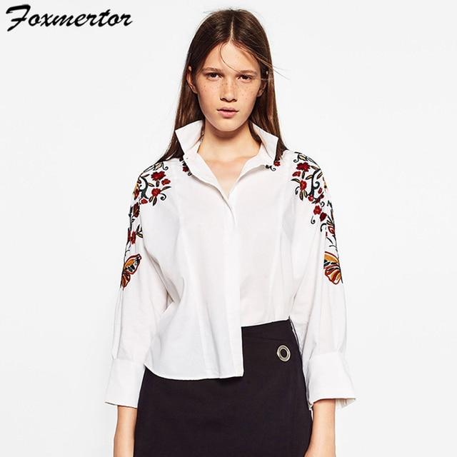 Foxmertor Новый 2017 Случайный Весна Лето Женщины Рубашка Цветочные Вышивка Рубашки Женщины Блузка Свободные Длинным Рукавом О-Образным Вырезом Белый # E103
