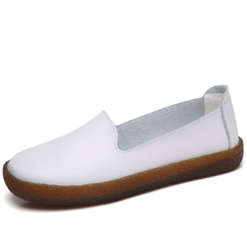 Women Flats Plus Size 43 Genuine Leather Shoes Women Loafers Slip On Moccasins Nurse Flat Shoes Female Leather Casual Shoes