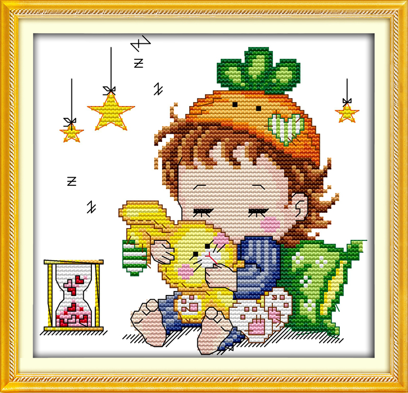 Rabbit Boy Cross Stitch Kit Cartoon 14ct 11ct Count Print Canvas