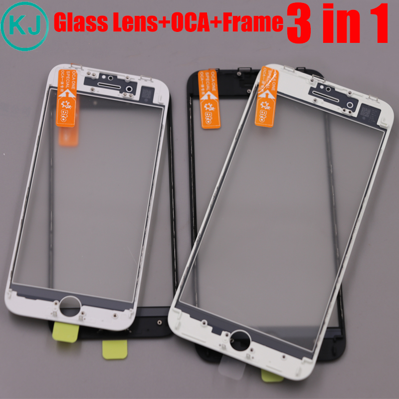 10PCS Top AAA+ Front Outer Glass Lens With Frame&OCA Cold Press 3 in 1 for iPhone 8 7 6s 6 plus 5 5s LCD Touch Glass Lens image