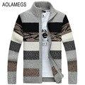 Aolamegs Мужчины Свитер Мода Контрастного Цвета Осень Зима Кардиган Пиджаки Молния Sweatercoat Мужской Вязание Sweter Hombre M-3XL
