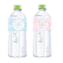 12pcs Gender Reveal Mineral Water Bottle Stickers Baby Shower Girl/Boy 1th Birthday Party Bottle Label Stickers new 12pcs baby shower decorations girl mineral water bottle label unicorn bottle stickers birthday party supplies
